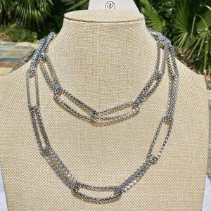Boho Necklace Loop Rope Silvertone Statement NWT